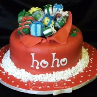 Santa's Sack Cherry ripe mud cake filled/ganached/fondant/gumpaste accessories/grated fondant snow!
