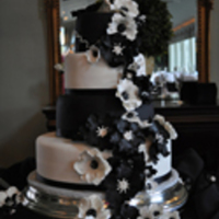 Black And White Wedding Cake Black and White fondant with gum paste Anemones.