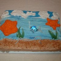 Fish Time White cake with vanilla filling. Made this for fun to practice for an upcoming birthday cake order