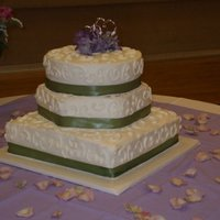 My First Wedding Cake 3 tier chcocolate cake with chocolate mousse filling with beaded borders