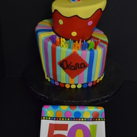 My Mom's 50 Topsy Turvy My mom turned 50 and I told her to pick any cake she wanted. She never did, so she went party supply shopping with me and chose the plates...