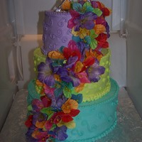 25Th Anniversary Luau Cake The customer wanted buttercream only. Current picture of it is in my fridge so I apologize for that.
