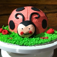 Lady Bug White cake, with red vanilla buttercream, black fondant dots, buttercream grass, red fondant roses.