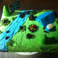 Camping Marble cake, buttercream icing, MMF tent, trees, cooler, fire pit, etc...
