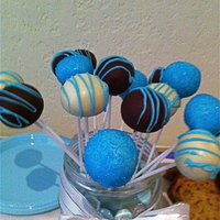 Baby Shower Cakepops   white and dark chocolate, decorated with blue shugar or blue candy melts