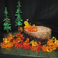 Burning Log Cake  Log is cake and buttercream, trees are dowels with modeling chocolate and gumpaste, and flames are, of course, poured sugar over ice,...