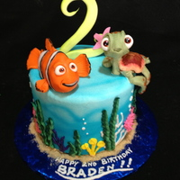 Finding Nemo Cake  As a fan of the movie, I had a blast with this one! Edible figures of Nemo (unfortunately he looks more like Marlin!) and turtle dude are...