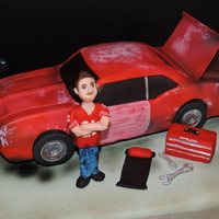 '69 Camaro Project Car Cake   RKT car with fondant, modeling chocolate figure and accessories. Roughed up the car and added white splotches to look worn! It was fun...