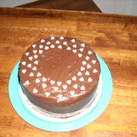 Cake Done For Ms Fundraiser white cake,choc buttercreme icing,candy hearts