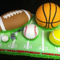 Sports Ball Cake Done in MMF. Handpainted baseball and basketball. The basketball was the wilton ball pan to give an idea on size. It was a BIG cake! 1/2...