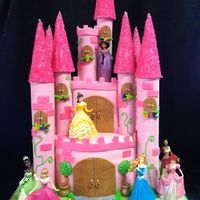 "Princess Castle Cake Inspired from ALOT of different castle cakes I looked at online. The tiers were 8"" and 6"" but I cut the ""front"" on the..."
