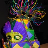 Mardi Gras Cake Vanilla cake with bc icing and fondant accents.