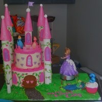Princess Castle Cake Castle cake done for granddaughter. The princess was put on a rotating disk so that she turned. She was thrlled. Well worth all of the work...