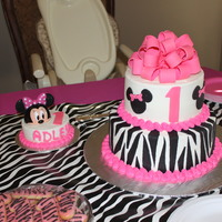 Zebra Minnie Mouse First Birthday  For my twin niece's birthday - We had two cakes like this. One white w/ lemon filling bottom tier with red velvet w/ cream cheese...