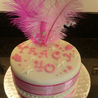 Stars & Hearts 40th Double Chocolate Fudge Birthday Cake, Cream & Pink and bit of sparkle.