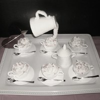 Gravity Tea Pot With Sugar Pot And Cup Cake I love my creation I make the cake for a Tea party