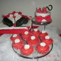 Minnie Baby Bum Cake I make the cake for a baby shower friend she love minnie the ball cake for the bum is make on red velvet cake and the cup cakes too. all...