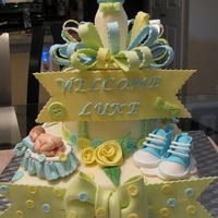 Baby Shower Cake   Chocolate bottle with gum paste and fondant decorations.TFL