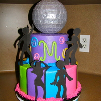 Disco 6 over 10 inch.......buttercream covered w/ fondant accents..........ball is styrofoam ball covered with fondant and sprayed! :)