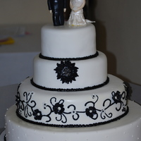 Black And White Wedding Cake With Gumpaste Toppers Black and White Wedding Cake with GumPaste Toppers,