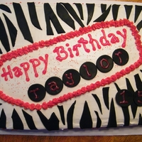 Zebra Cake Zebra and red sheet cake for teen bday. Fondant decorations