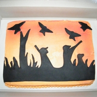 Duck Hunter Bday cake for avid duck hunter. Fondant silhouette.