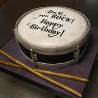 "Snare Drum  A cake for my boss' birthday. They told me to do something ""simple."" Haha. Everything is fondant. I hand painted the writing..."