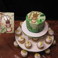 Going Bananas My niece wanted a birthday cake to match her favorite monkey card. I threw in the banana cupcakes to match. Bananas made from fondant....