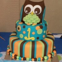 Camden's 1St Owl themed cake for my nephew's 1st birthday party