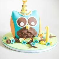 Camden's Smash Cake Owl themed smash cake made for my nephews 1st birthday photo shoot