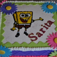 Sponge Bob My first Buttercream Cake, following instructions of Sheet Cakes DVD from Sharon Zambito.