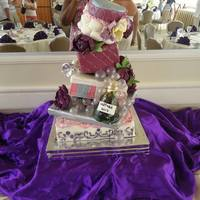 Topsy Turvy Engagement Gift Box Cake Wine Bottle With Bubbles That Spill Out Onto The Cake Peonies Sugar Flowers And 3D Engagement Ring *topsy turvy engagement gift box cake. wine bottle with bubbles that spill out onto the cake, peonies sugar flowers and 3d engagement ring...