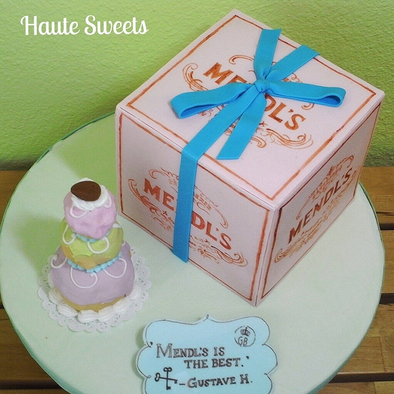 Mendl's Pastry Box Cake Inspired from Wes Anderson's 'Grand Budapest Hotel'. The pastry box is a cake and hand painted with food coloring. The...