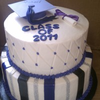 2011 bottom tier is white cake with creamy lemon filling and top tier is chocolate cake with strawberry cheesecake filling. cap and diploma are...