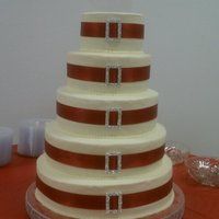 "Bling Wedding 5 tier 14"" 12"" 10"" 8"" 6"" all cake is WASC part of the cake has chocolate chip cookie dough filling part is..."