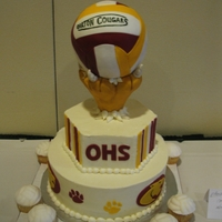 High School Volleyball Cake ball is cake with fondant, cougar paw is rice krispie/fondant, rest is BC.
