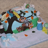 Diaper Bag Cake Made to match the shower invitations. All fondant pieces. The handle is to the back of the cake which I forgot to cake a pic of (all night...