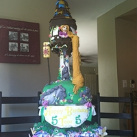 "Tangled Cake bottom (grass) layer is 9"" rounds, tower cake are 5"" rounds stacked. All edible. TFL!!"