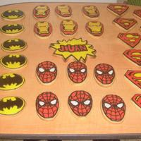Superhero Cookies Sugar Cookies with RI. Made for DH's godson's 7th birthday. They took me around 10 hours to make all in all (excluding drying...