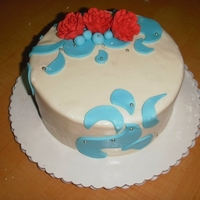 Aqua, Red And White Cake Chocolate cake, BC filling, MMF. Premade RI roses.