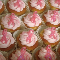 Breast Cancer Awareness Month!!   Cupcakes with gum paste ribbons and a companion mini cake. TFL!!