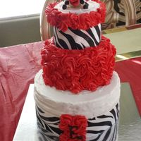 Daughters Cake   8in 6in 4in butter cake with fondant zebra