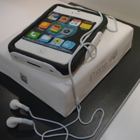Iphone 4 S, White, With Box Box is chocolate cake with chocolate ganache filling., covered in fondant, hand painted on the sides. iPhone is sculpted from home made...