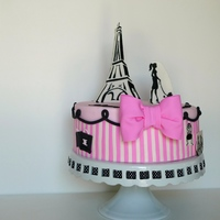 "Paris 9"" cake, covered in Satin Ice fondant, hand painted images, 100% edible. Stripes and swirls were attached to the cake using Jessica..."