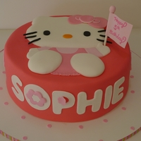 "Hello Kitty 9"" cake, covered in Satin Ice fondant. Decorations are fondant & fondant + tylose powder. Design inspired by one of Aldoska's..."