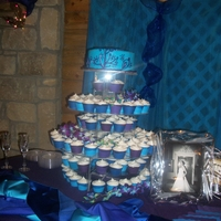 Peacock Colors Cake & Cupcakes Single round top layer with 150 cupcakes and hand made wrappers