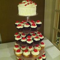 Red Rose Cuppcake Trees *90th Birthday cupcakes (choc. & van.) with vanilla buttercream, mini cake topper/giant cupcake.