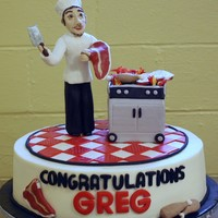 Here's To The Chef!  Butter cream iced cake with fondant and modeling chocolate decorations. Celebration cake for a man who had just become an Executive Grill...