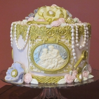 Vintage Victorian 50Th Birthday   Buttercream with fondant and gum paste pearls, jewelry, cameo panel, lace, keys, ruffle flowers, and more.