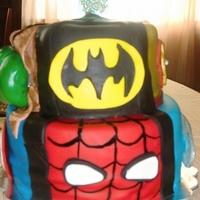 Super Hero Squad Chocolate cake with cookies and cream filling